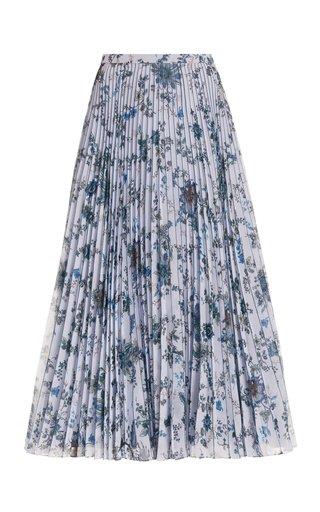 Nesrine Pleated Floral Georgette Midi Skirt
