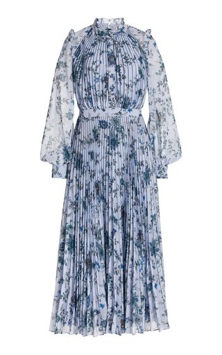 Narella Floral Plissé Georgette Midi Dress
