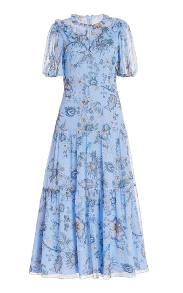 Pearline Belted Floral Silk Midi Dress