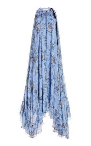 Theola Tie-Detailed Floral Silk Maxi Dress