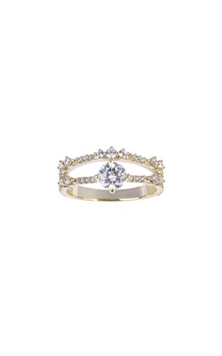 18K Gold Luna 2 Pavé Ring with a Round Solitaire Diamond
