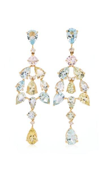 18K Yellow Gold Aquamarine, Diamond Earrings