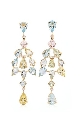 18K Yellow Gold Aquamarine, Diamond Earrings