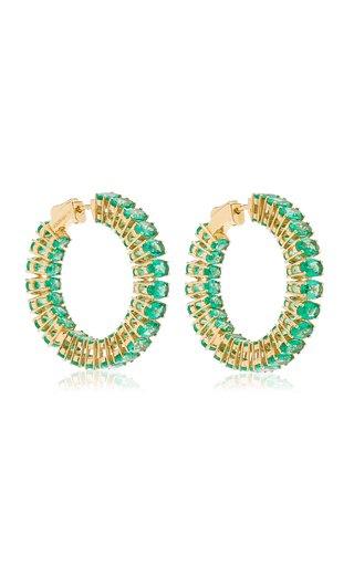 18K Yellow Gold Emerald Hoop Earrings