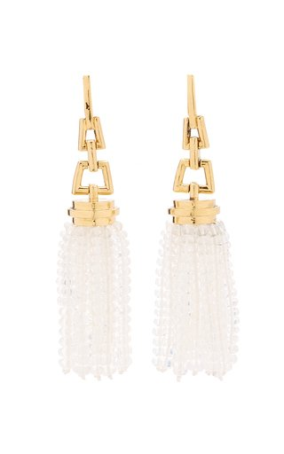 Tasseled Quartz 18K Yellow Gold Earrings