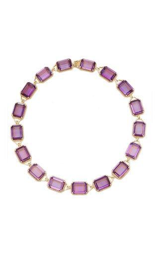 18K Yellow Gold Amethyst, Diamond Necklace