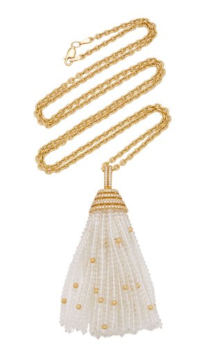 18K Yellow Gold Quartz, Diamond Necklace