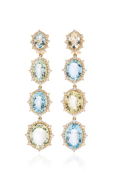 18K White Gold Aquamarine, Diamond Earrings