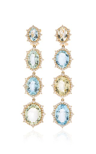 18K White Gold Aquamarine, Diamond Earrings