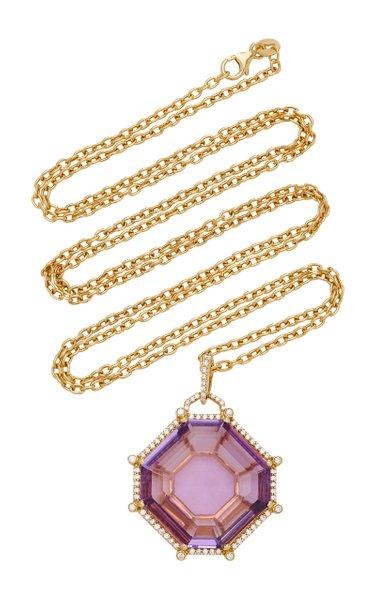 18K White Gold Amethyst, Diamond Necklace