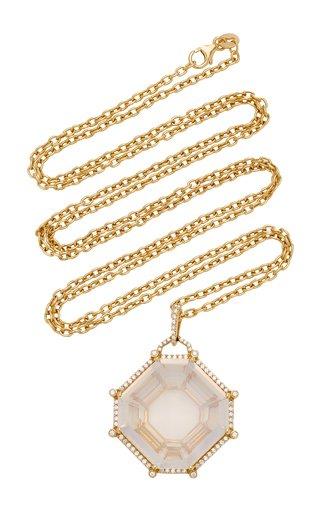 18K White Gold Quartz, Diamond Necklace