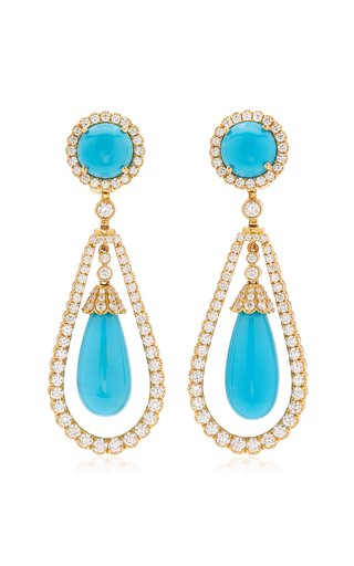 18K Yellow Gold Turquoise, Diamond Earrings