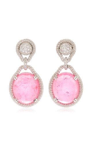 18K White Gold Tourmaline, Diamond Earrings