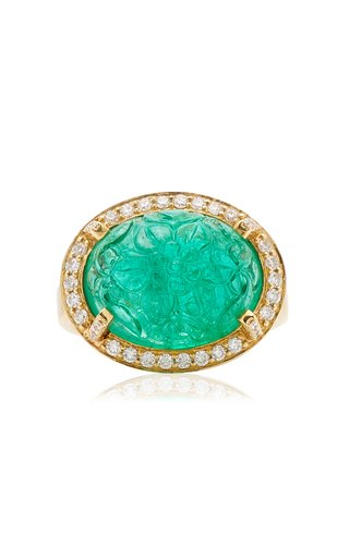 18K Yellow Gold Emerald, Diamond Ring