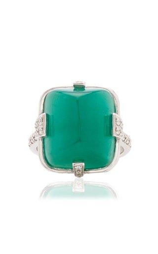 18K White Gold Emerald, Diamond Ring