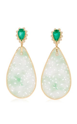 18K Yellow Gold Jade, Emerald, Diamond Earrings