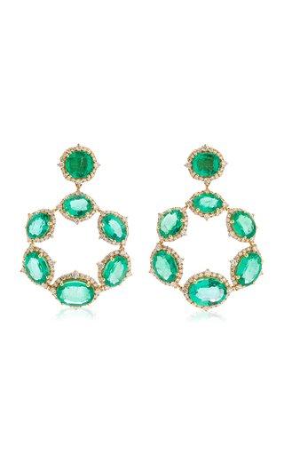 18K Yellow Gold Emerald, Diamond Earrings