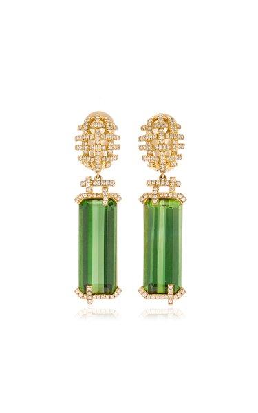 18K Yellow Gold Tourmaline, Diamonds Earrings