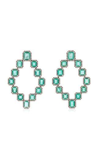 18K White Gold Emerald, Diamond Earrings