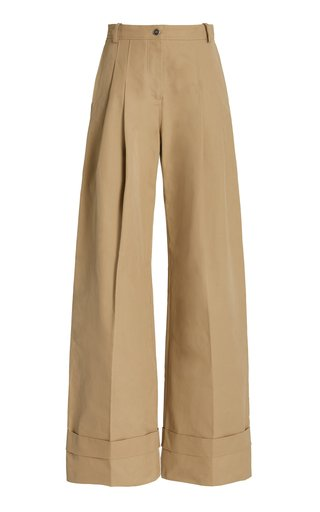 High-Rise Cotton-Chino Flared Pants