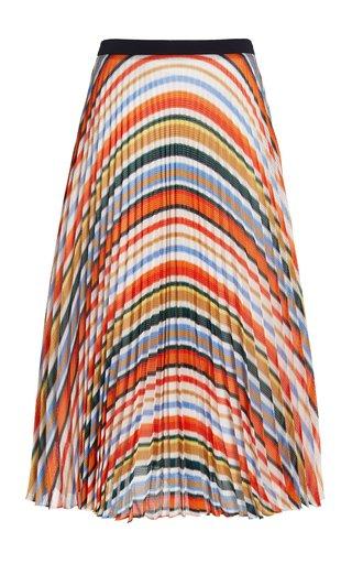 Pleated Striped Knit Midi Skirt