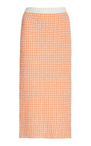 Checked Jacquard-Knit Midi Skirt