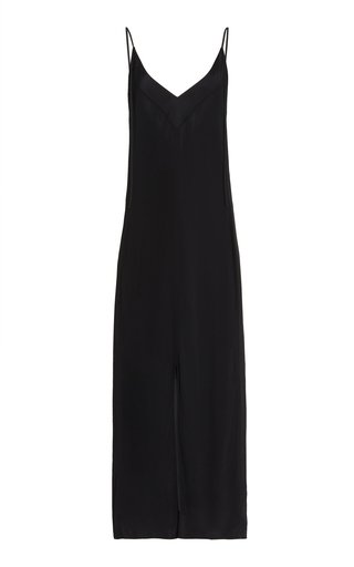 Satin-Trimmed Crepe Slip Maxi Dress