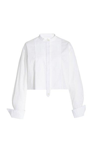 Cropped Organic Cotton-Poplin Shirt