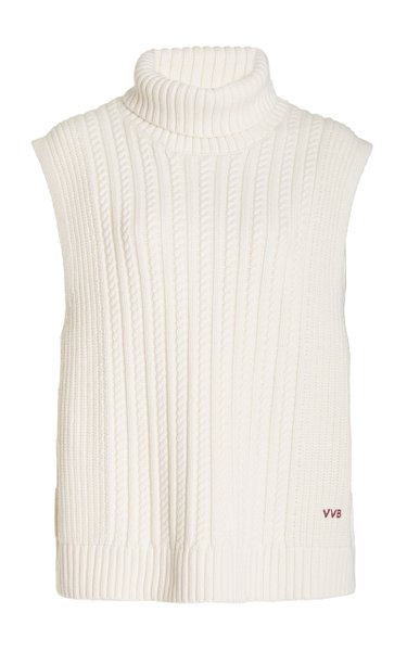 Cable-Knit Sleeveless Turtleneck Top