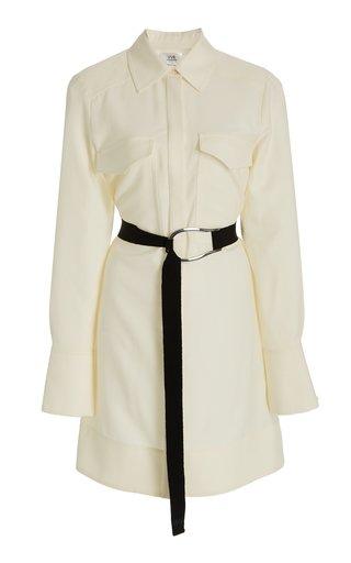 Belted Cotton Mini Shirt Dress