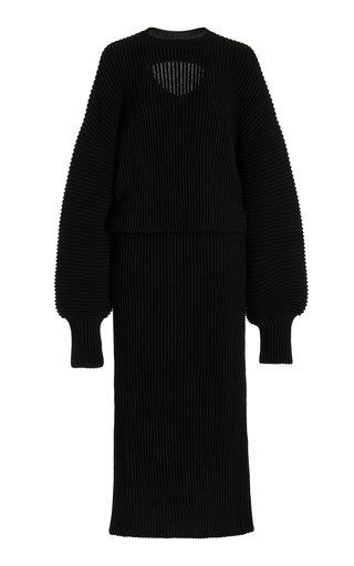Cutout Wool Midi Dress