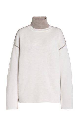Oversized Wool Mock-Neck Sweater