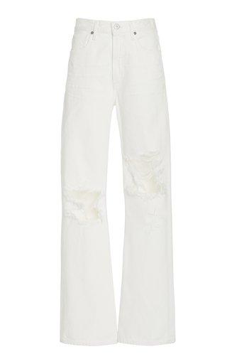 Libby Distressed Rigid Mid-Rise Straight-Leg Jeans