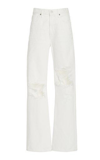 Libby Distressed Rigid Mid-Rise Wide-Leg Jeans