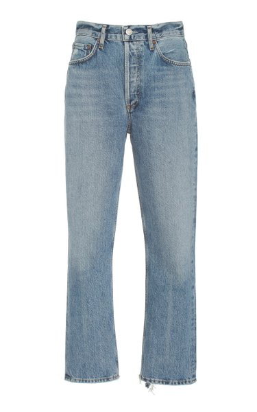 Riley Rigid High-Rise Cropped Organic Cotton Straight-Leg Jeans