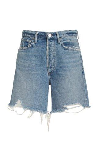 Camilla Rigid High-Rise Frayed Denim Slim Shorts