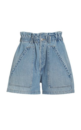 Naria Rigid High-Rise Organic Cotton Flared Denim Shorts