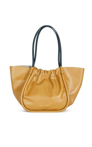 Large Ruched Leather Tote