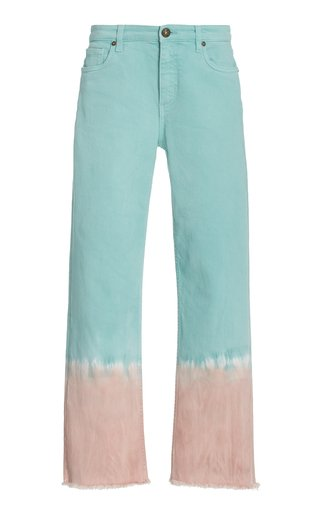Ibiza Tie-Dyed Stretch High-Rise Straight-Leg Jeans