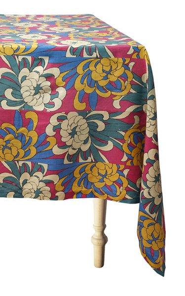 Dahlia Printed Linen Tablecloth