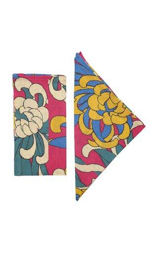 Dahlia Set-Of-Four Printed Linen Napkins