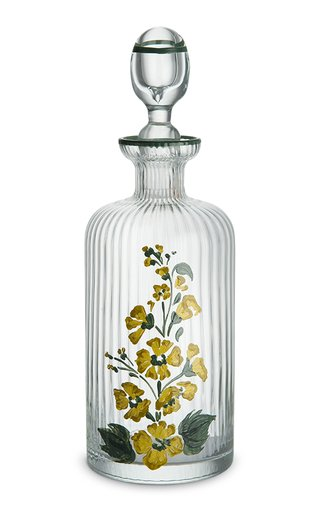 Hand-Painted Floral Murano Glass Oil Bottle