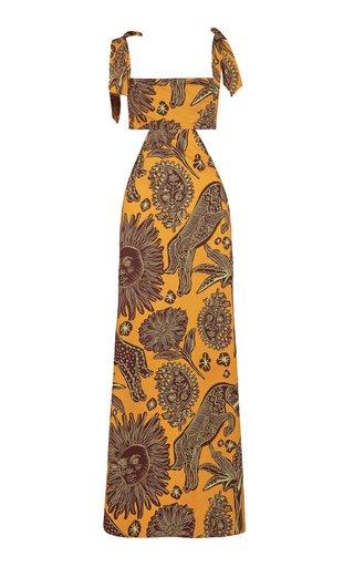 Solar Historico Cutout Printed Organic Cotton Maxi Dress