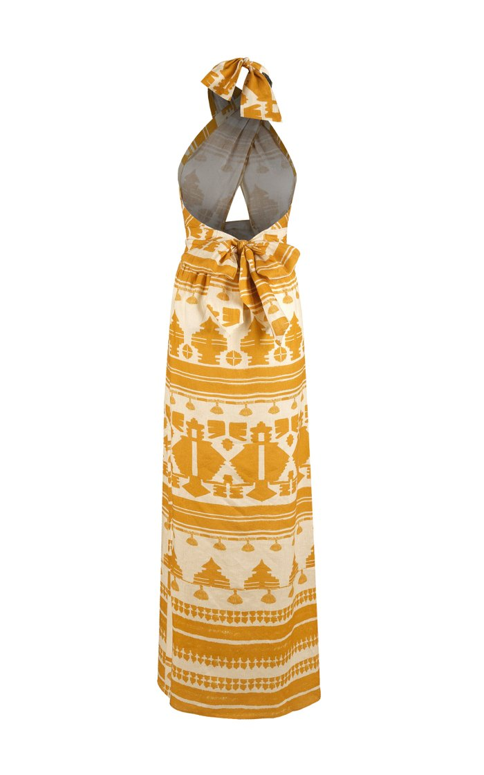 Facundo Printed Linen Maxi Dress