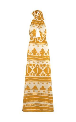 Facundo Printed Linen Maxi Halter Dress