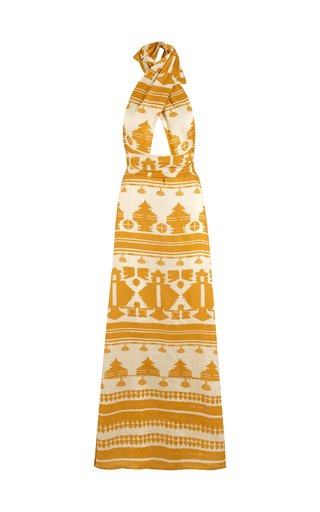 Facundo Printed Linen Maxi Halter Dress