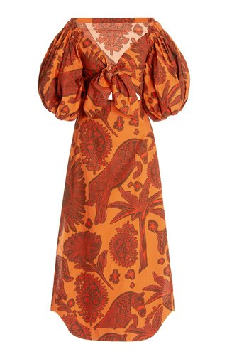 Dramatic Sunset Printed Cotton Midi Dress