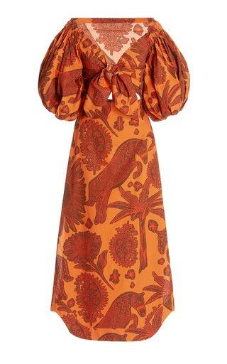 Dramatic Sunset Printed Cotton Midi Dress