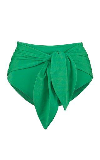 High-Rise Tie-Accented Bikini Bottoms