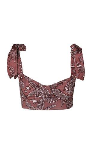 Printed Tie-Accented Bikini Top